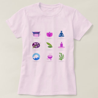 Pink t-shirt with wellness icons