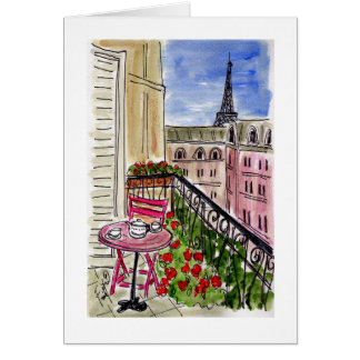 Pink Table Pink Chair Paris Card