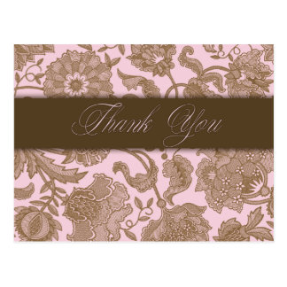Pink Tapestry - Thank You Postcard