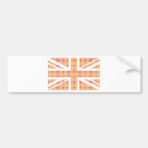 Pink Tartan Pattern Union Jack British(UK) Flag Bumper Sticker