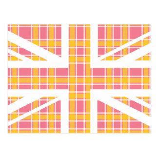 Pink Tartan Pattern Union Jack British(UK) Flag Post Card
