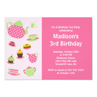 "Pink Tea Party Birthday Party Invitation 5"" X 7"" Invitation Card"
