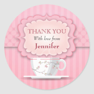 Pink Tea Party Thank You Large Classic Round Sticker