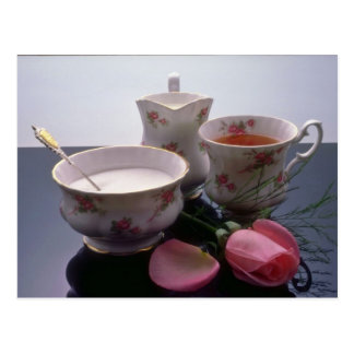 Pink Tea, sugar and milk flowers Postcard