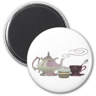 Pink Tea time art Magnet