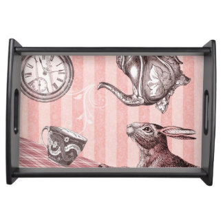 Pink Tea Time Rabbit in Wonderland Serving Tray