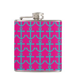Pink & Teal Anchor Pattern Hip Flask