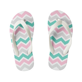 Pink Teal and Gray Chevrons on Flipflops