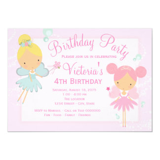 Pink Teal Blue Fairy Princess Girl Birthday Party 13 Cm X 18 Cm Invitation Card