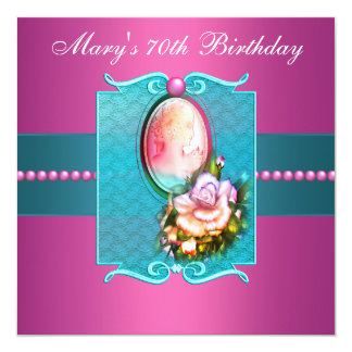 Pink Teal Cameo Rose Womans 70th Birthday Party Card