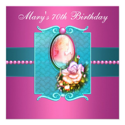 Pink Teal Cameo Rose Womans 70th Birthday Party Invitation