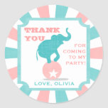 Pink | Teal Carnival Party Big Top Favour Sticker
