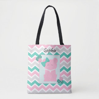Pink Teal Chevron of Girl Bear Wearing Pearls Tote Bag
