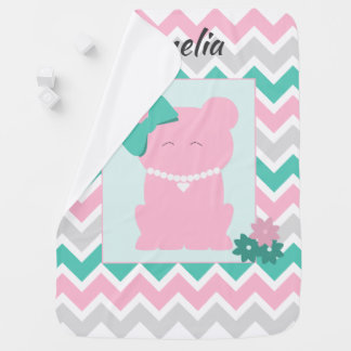 Pink Teal Chevron with Girl Bear Wearing Pearls Baby Blanket