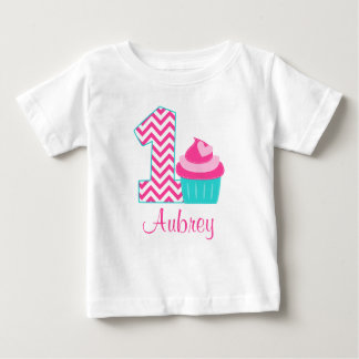 Pink Teal Cupcake 1st Birthday Personalized Shirts