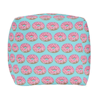 Pink Teal Frosted Donut Doughnut Sprinkles Foodie Pouf