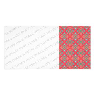 Pink Teal Geometric Pattern Photo Greeting Card