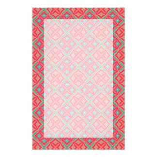 Pink Teal Geometric Pattern Stationery