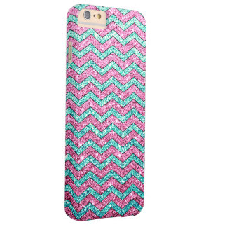 Pink Teal Glitter Zigzag Chevron Pattern Barely There iPhone 6 Plus Case