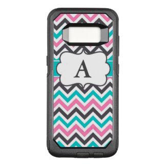 Pink Teal Grey Chevron Monogram OtterBox Commuter Samsung Galaxy S8 Case