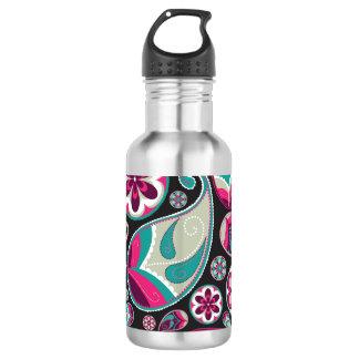 Pink Teal Paisley Pattern 532 Ml Water Bottle