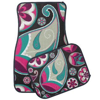 Pink Teal Paisley Pattern Car Mat