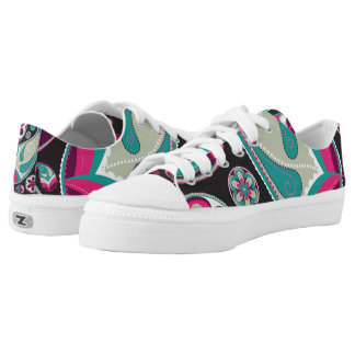 Pink Teal Paisley Pattern Low Tops