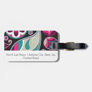 Pink Teal Paisley Pattern Luggage Tag