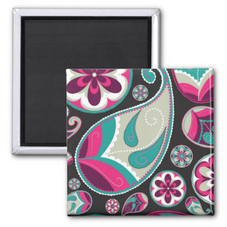 Pink Teal Paisley Pattern Magnet