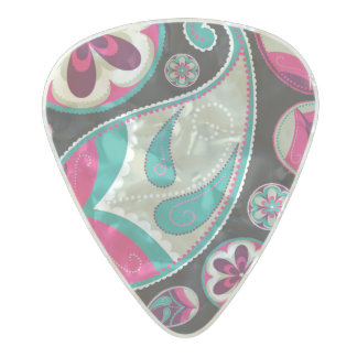 Pink Teal Paisley Pattern Pearl Celluloid Guitar Pick