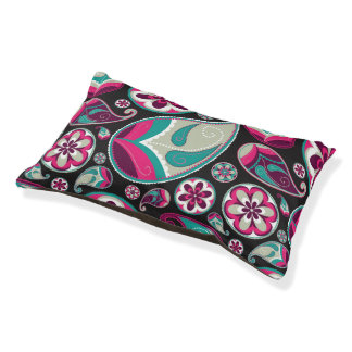Pink Teal Paisley Pattern Pet Bed