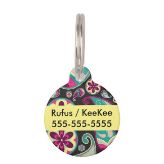 Pink Teal Paisley Pattern Pet Name Tag