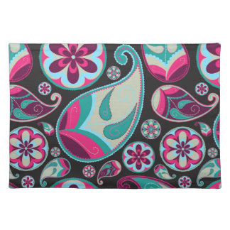 Pink Teal Paisley Pattern Placemat