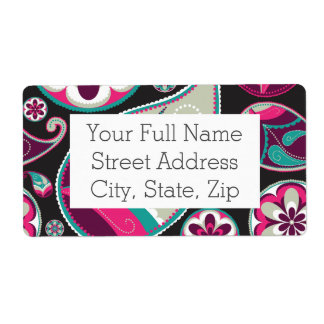 Pink Teal Paisley Pattern Shipping Label