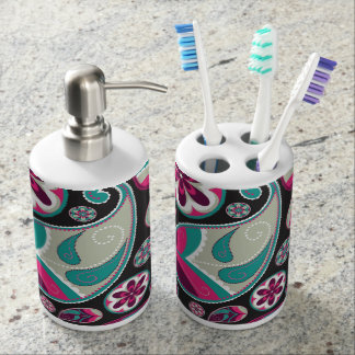 Pink Teal Paisley Pattern Soap Dispenser And Toothbrush Holder