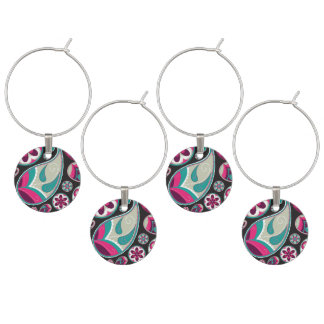 Pink Teal Paisley Pattern Wine Charm