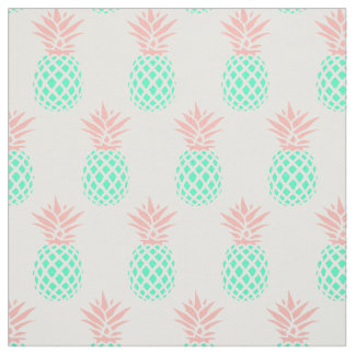 pink teal pineapples fabric