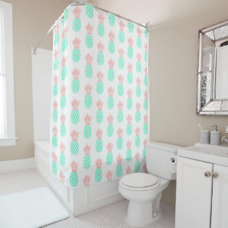 pink teal pineapples pattern shower curtain