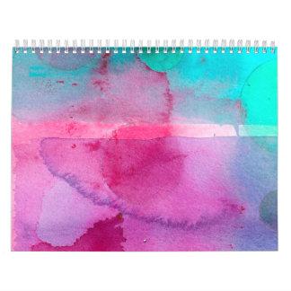 Pink Teal Purple Ombre Watercolor Wall Calendar