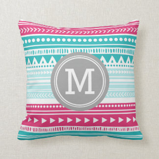 Pink Teal Tribal Monogram Decorative Pillow