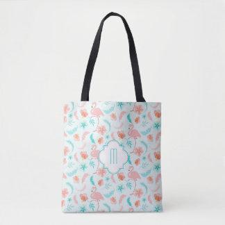 Pink Teal Tropical Paradise Monogram Tote Bag