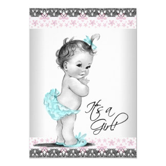 Pink Teal Vintage Baby Girl Shower Invitations