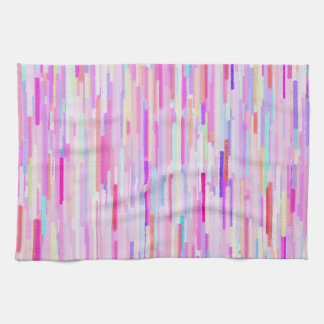 Pink teal watercolor abstract stripes pattern tea towel