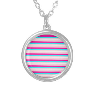Pink Teal White Stripes Round Pendant Necklace