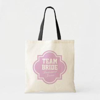 Pink Team Bride tote bags for wedding party Bags
