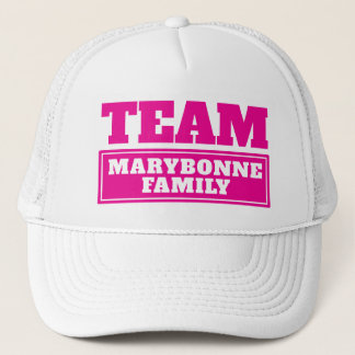 Pink team personalized team name or family name trucker hat