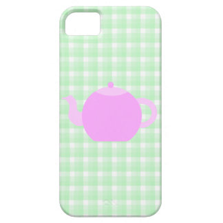 Pink Teapot Design on Green Check. iPhone 5 Case