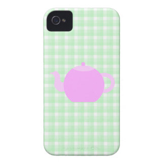 Pink Teapot Design on Green Check. iPhone 4 Case-Mate Case