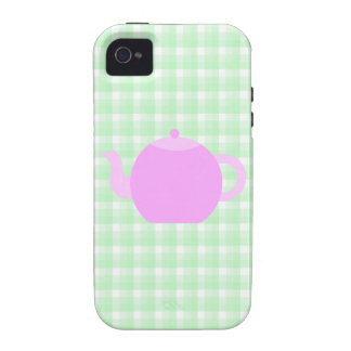Pink Teapot Design on Green Check. Case-Mate iPhone 4 Cases