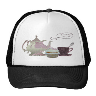 Pink Teapot, Teacup and Cupcake Art Trucker Hat